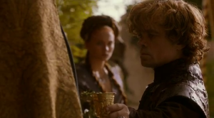 Tyrion handing cup to Joffrey