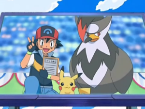 Ash,Staraptor and Pikachu