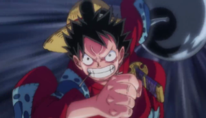 Luffy about to punch Kaido